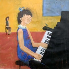 Concert - XXI century Contemporary Figurative Oil Painting, Bright Colors, Music