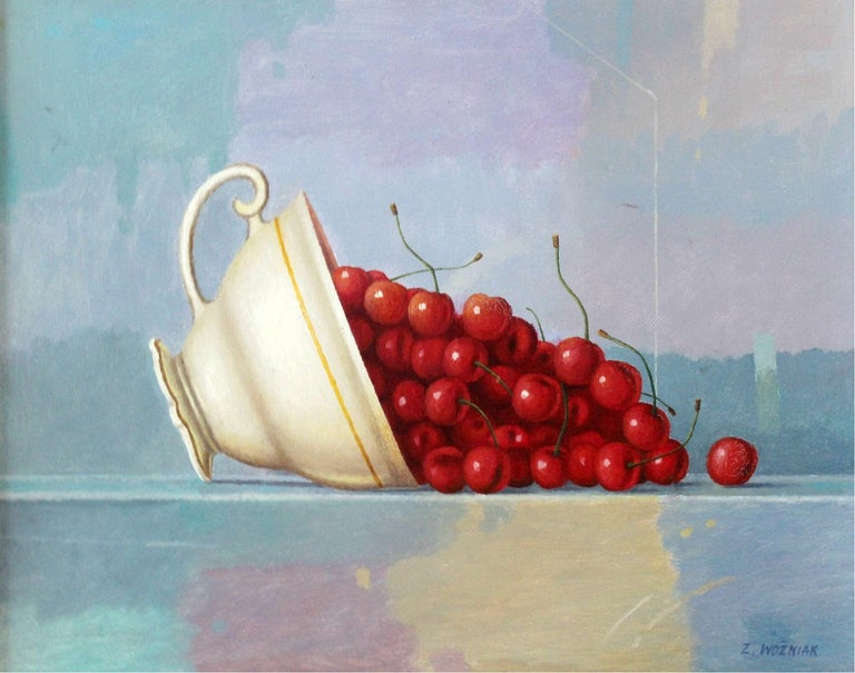 Zbigniew Wozniak Figurative Painting - Still life in a teacup -- Contemporary Figurative Oil Painting, Realistic