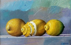 Lemons - Contemporary Figurative Oil Painting, Realistic, Fruits, Still life