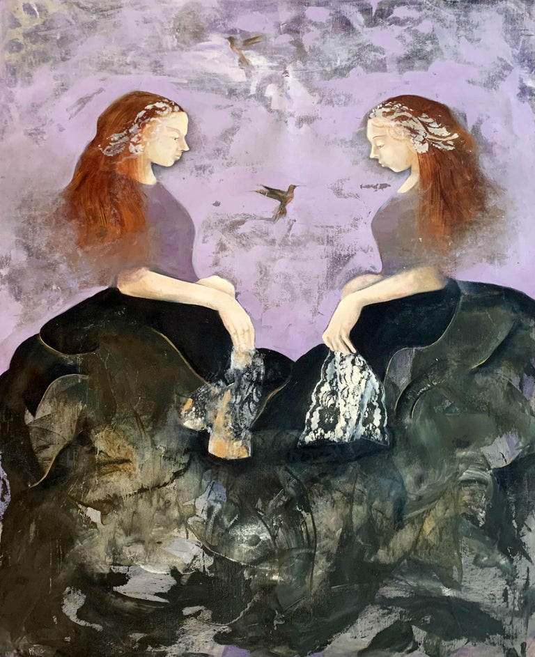 Monika Rossa Figurative Painting - A dance - Contemporary Figurative Oil Painting, Bright Colors, Purple