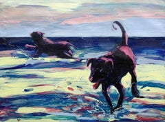 Two dogs - Contemporary Figurative Oil Painting Bright Colors, Colorful, Animals