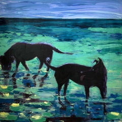 Dogs - Contemporary Figurative Oil Painting, Bright Colors, Blue, Animals