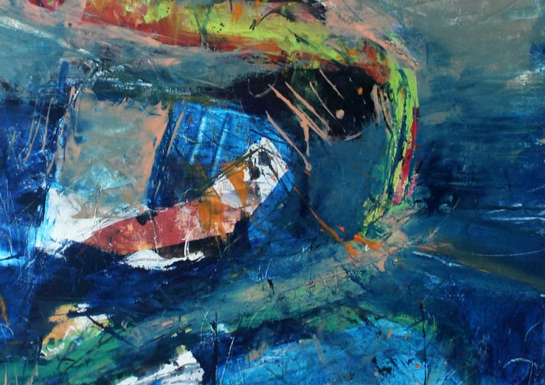 Towards destination A - Contemporary Oil Painting, Abstraction, Colorful - Print by Monika Rossa