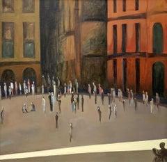 Siena VII - XXI Century, Oil Figurative Landscape Painting, Warm Tones