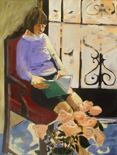 A reading one - XXI century, Contemporary Figurative Oil Painting, Colorful