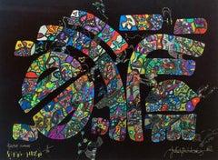 Hiacynt nouvou - XXI century, Mixed media, Gel art, Abstract print, Colorful