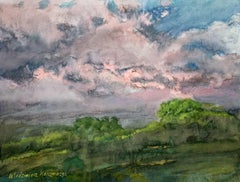 Dawn of the day - XXI century, Watercolor painting, Landscape, Realist