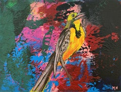 Gardens of Delight XLII- XXI century figurative oil painting, Bird, Colorful