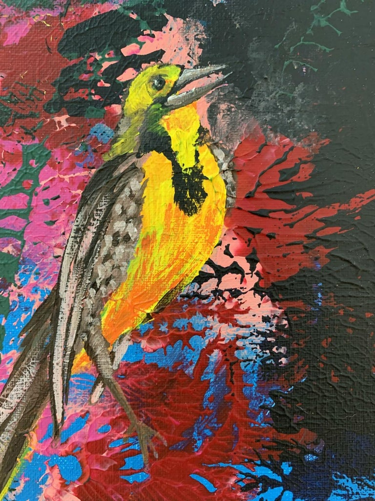 Gardens of Delight XLII- XXI century figurative oil painting, Bird, Colorful For Sale 2