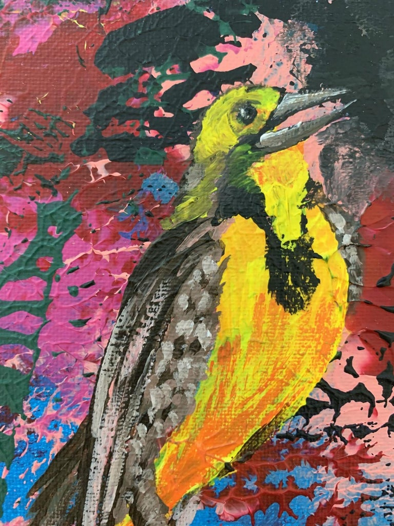 Gardens of Delight XLII- XXI century figurative oil painting, Bird, Colorful For Sale 3