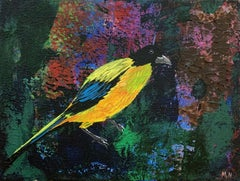 Gardens of Delight XL - XXI century figurative oil painting, Bird, Colorful