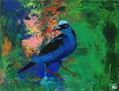 Gardens of Delight XLIII - XXI century figurative oil painting, Bird, Colorful