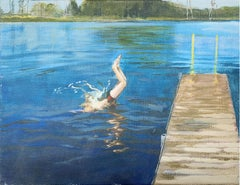 The bath  - XXI Century, Contemporary Figurative Oil Painting,  Landscape, Water