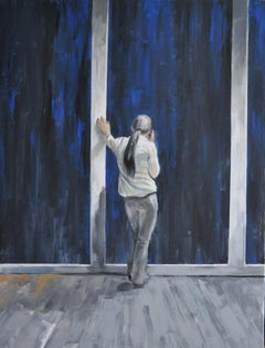 A puzzle - XXI Century, Contemporary Figurative Oil Painting, Navy blue & grey