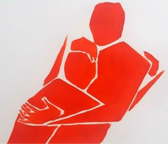 A hugging pair - Figurative Acrylic Painting on Paper, Vibrant red
