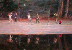 Volleyball - XXI Century Contemporary Figurative Oil Painting, Sport, Landscape