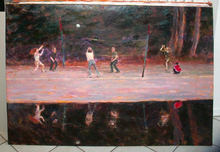 Volleyball - XXI Century Contemporary Figurative Oil Painting, Sport, Landscape - Black Figurative Painting by Dorota Zych-Charaziak