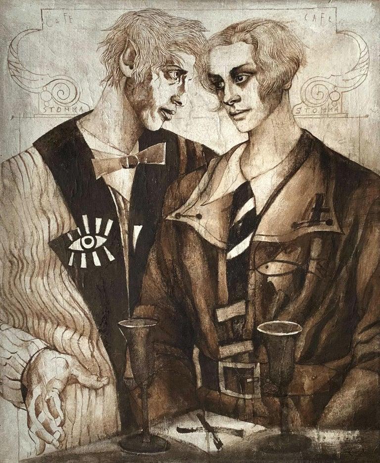 Agata Stomma Figurative Painting - A couple - XXI Century, Figurative Gouache Painting, Texture, Double Portrait
