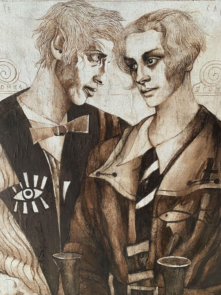 A couple - XXI Century, Figurative Gouache Painting, Texture, Double Portrait - Brown Figurative Painting by Agata Stomma