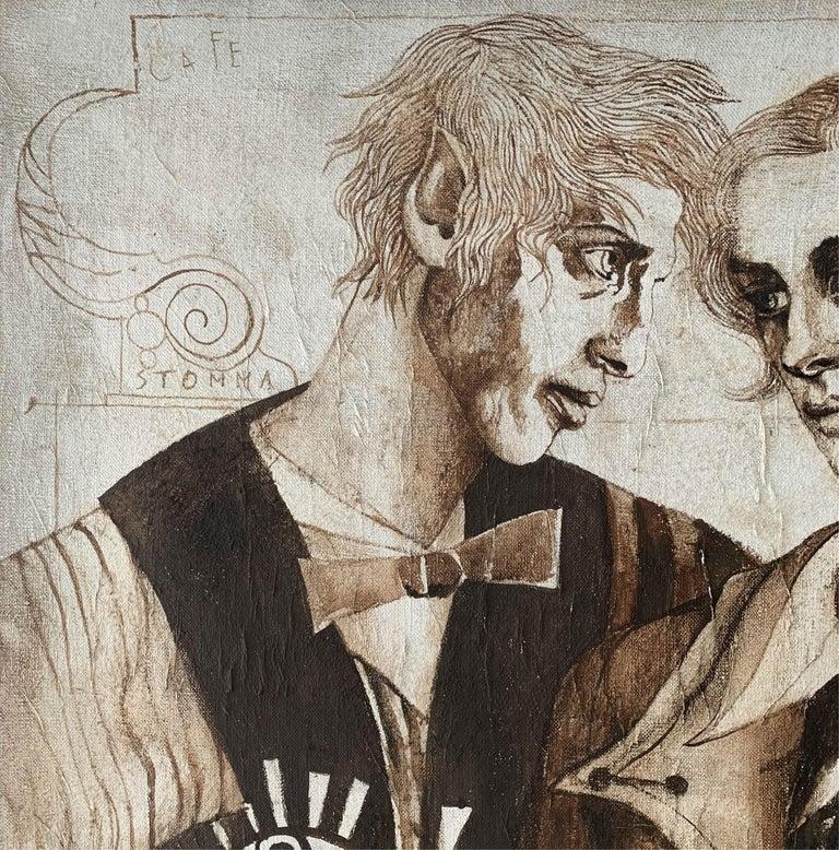 A couple - XXI Century, Figurative Gouache Painting, Texture, Double Portrait For Sale 1