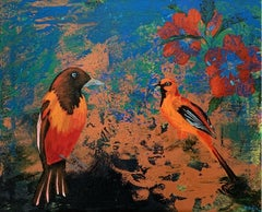 Gardens of Delight LII - XXI century figurative oil painting, Birds, Colorful