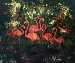 Gardens of Delight XXXIV - XXI century figurative oil painting, Birds, Colorful