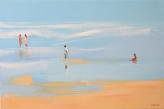 Summertime 51 -  Figurative oil painting, Beach, Landscape, Water, Seaside