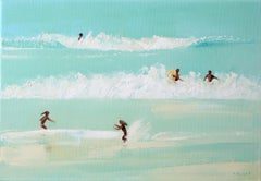 Summertime 50 -  Figurative oil painting, Beach, Landscape, Water, Seaside