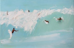 On a wave IV -  Figurative oil painting, Beach, Landscape, Water, Seaside