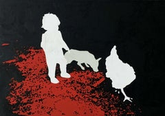 Untitled - XXI Century, Contemporary Figurative Oil Painting, Black Red & White