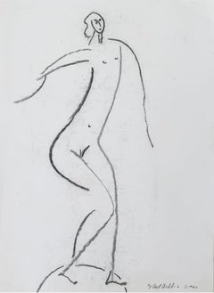 Dancing one - XX century, Figurative drawing, Nude, Black and white, Minimalist