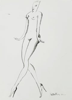 Nude - XXI century, Figurative ink drawing, Nude, Black and white, Minimalist