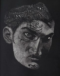 Pierre - XXI Century Contemporary Linocut Print, Surrealism, Black & white