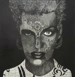 Feast of moon - XXI Century Contemporary Linocut Print Surrealism, Black & white