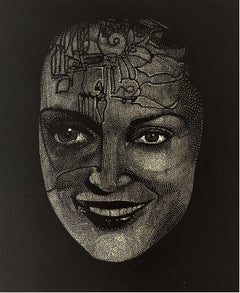 Saba - XXI Century Contemporary Linocut Print Surrealism, Black & white