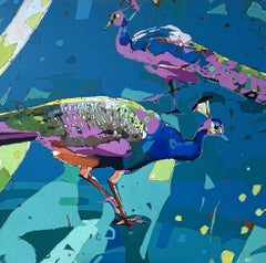 Peacocks 14 - XXI Century, Contemporary Figurative Oil Painting Pop Art, Animals