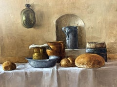 Still life with bread - XXI century Oil figurative painting, Warm tones