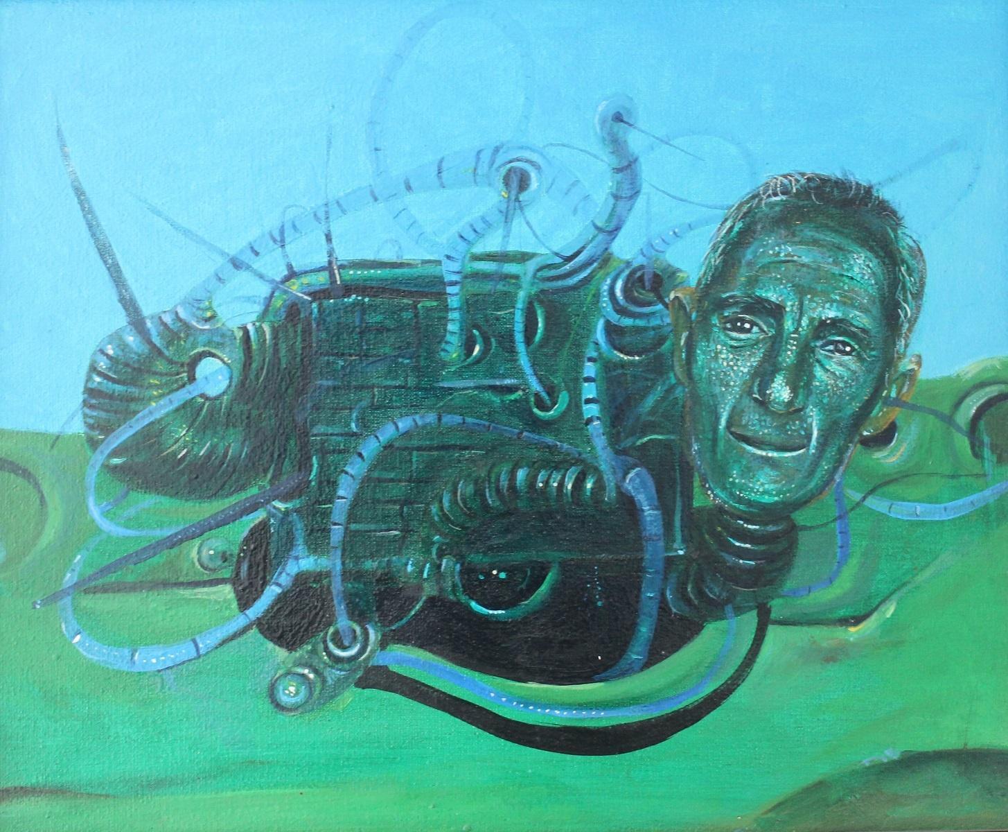 Blue composition -  Contemporary Surreal Painting, Vibrant Blue, monochromatic