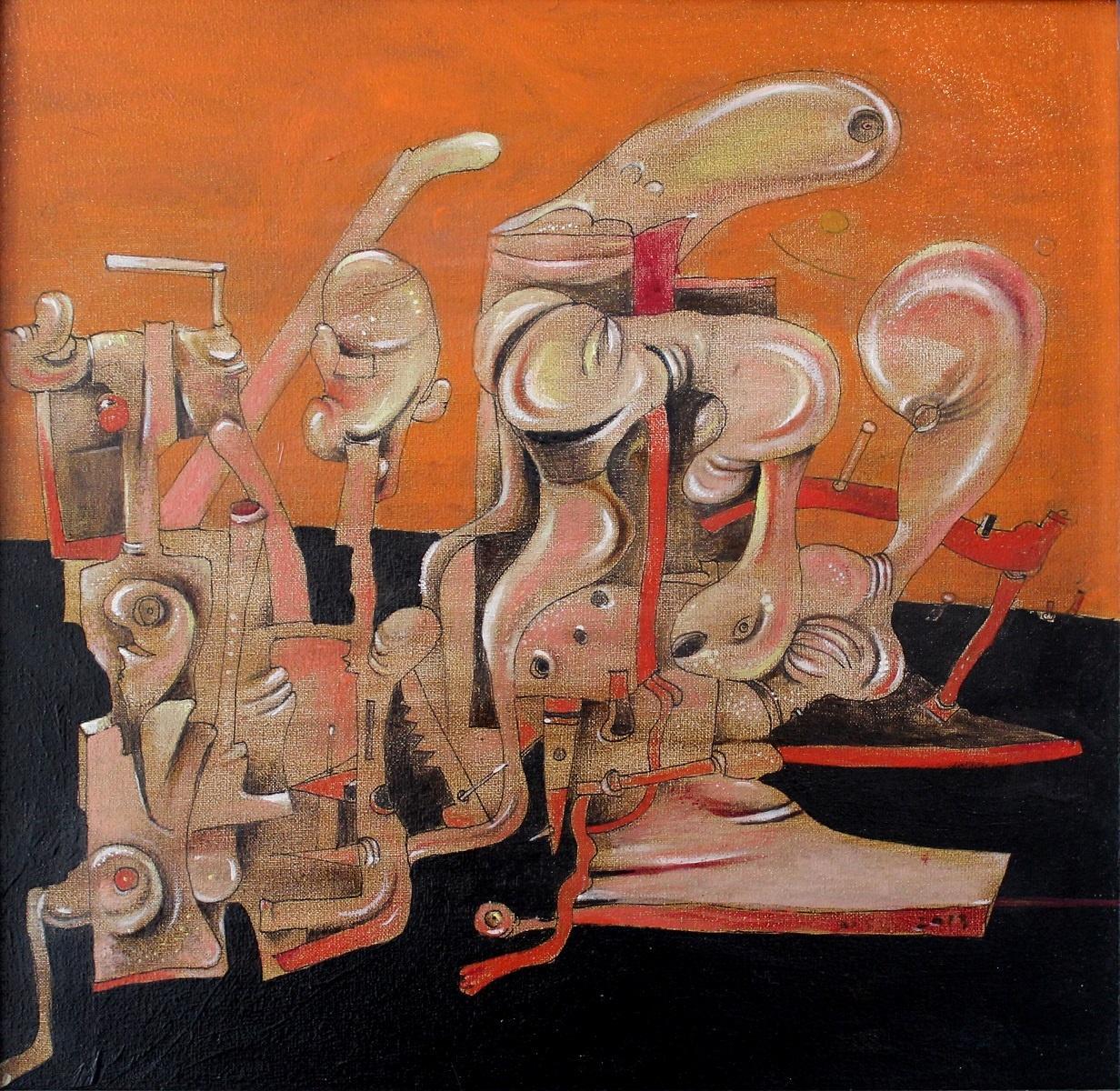 Orange composition -  Contemporary Surreal Paintings, Vibrant orange & black