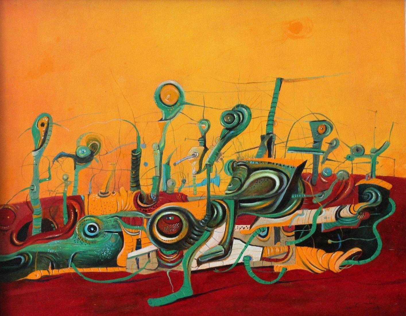 Orange composition -  XXI Century, Contemporary Surreal Art, Vibrant colors