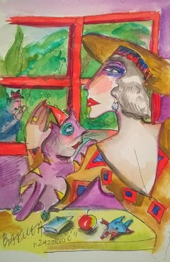 Jealousy - Contemporary Figurative Watercolor Painting, Colorful, XXI Century
