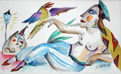 With a parrot - Contemporary Figurative Watercolor Painting, XXI Century