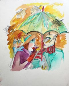 Funny man - Contemporary Figurative Watercolor Painting, XXI Century