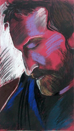 Portrait (Hommage a Witkacy) - Contemporary Figurative Pastel Drawing