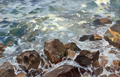 Stones - Contemporary Landscape Oil Painting, Sea / Ocean View, Realism