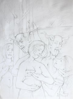 Nymphs and fauns - XXI Century, Contemporary Figurative Mythology Pencil Drawing
