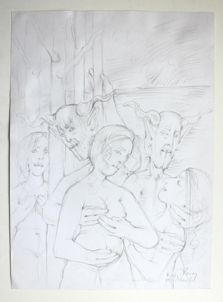 Nymphs and fauns - XXI Century, Contemporary Figurative Mythology Pencil Drawing For Sale 1