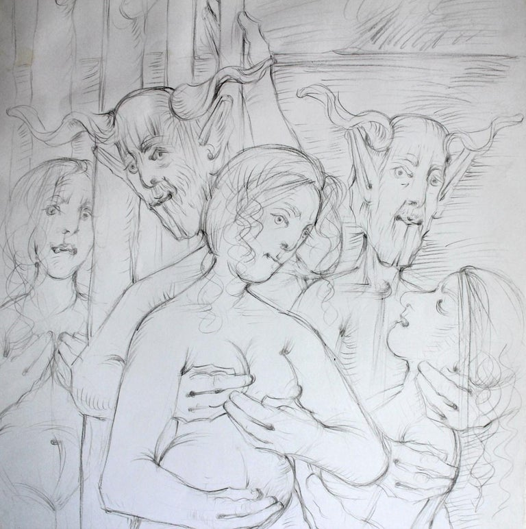 Nymphs and fauns - XXI Century, Contemporary Figurative Mythology Pencil Drawing For Sale 2