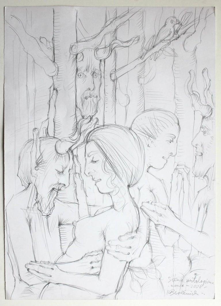 Mythological scene - Contemporary Figurative Mythology Drawing, XXI Century For Sale 1