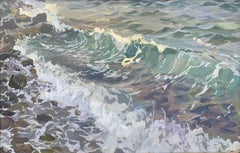 Waves in Ermoupoli - Contemporary Landscape Oil Painting, Sea View, Realism